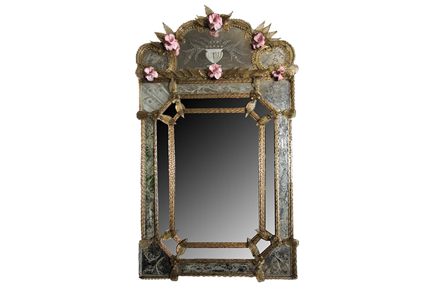 Vintage Venetian Etched Glass Mirror | Omero Home intended for Antique Venetian Glass Mirrors (Image 25 of 25)