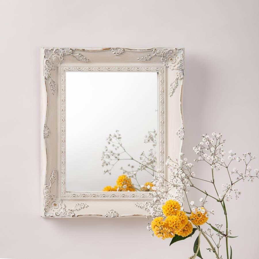 Vintage White Cream Hand Painted Mirrorhand Crafted Mirrors within Vintage Mirrors (Image 25 of 25)