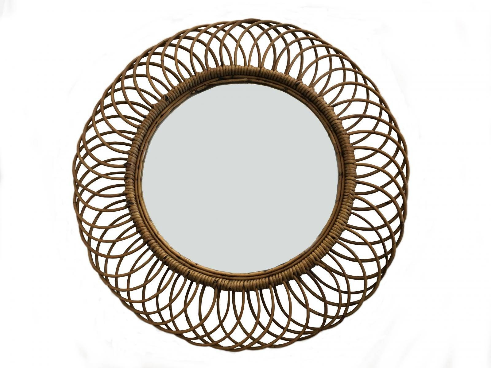 Vintage Wicker Round Wall Mirror, 1960S For Sale At Pamono regarding Vintage Wall Mirrors (Image 24 of 25)
