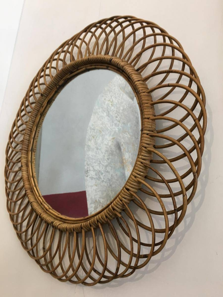 Vintage Wicker Round Wall Mirror, 1960S For Sale At Pamono with Vintage Wall Mirrors (Image 25 of 25)