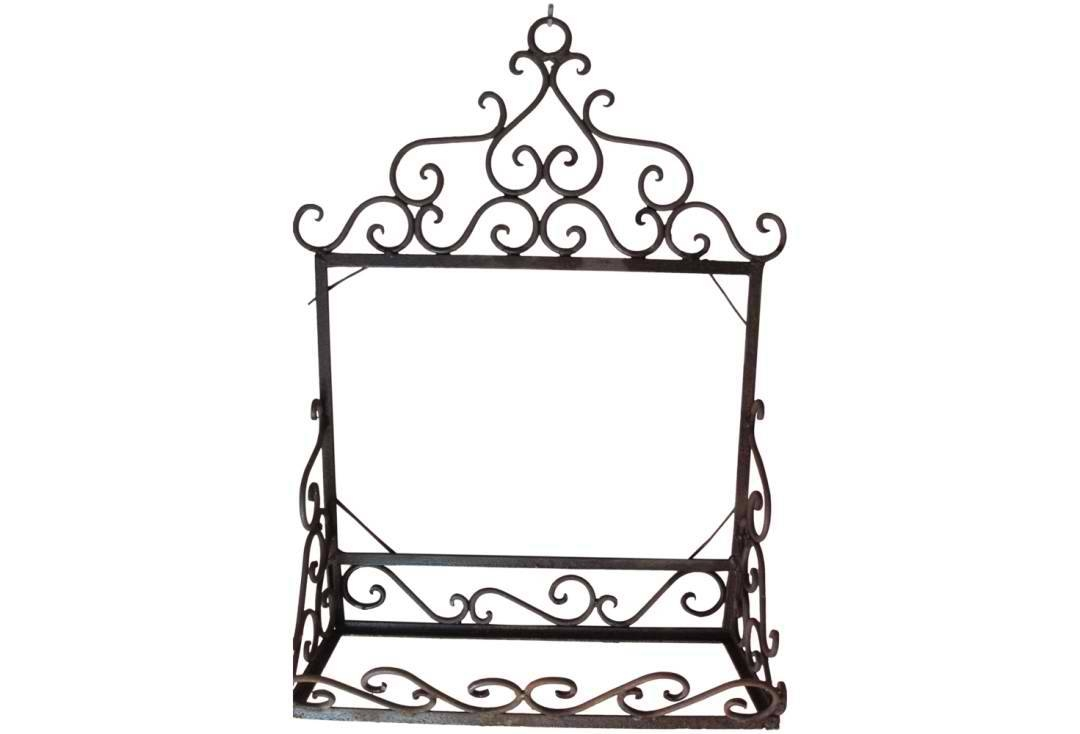 Vintage Wrought Iron Shelf & Mirror Back Unit | Omero Home for Black Wrought Iron Mirrors (Image 20 of 25)