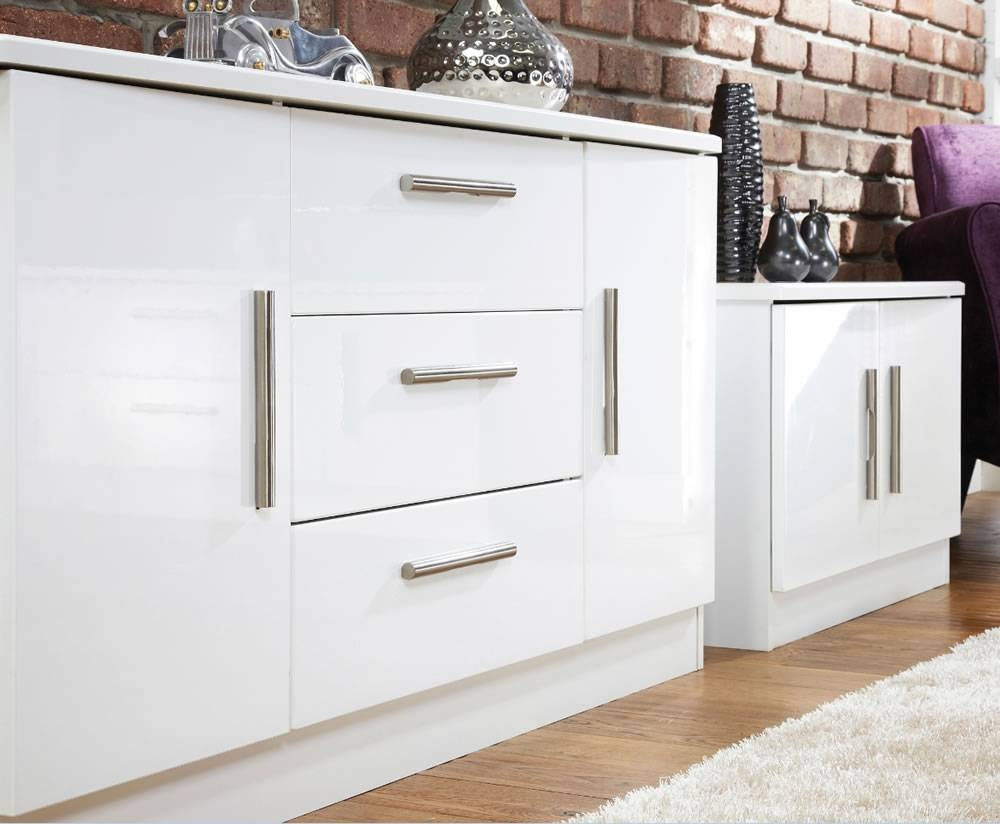 Vista High Gloss 2 Door 3 Drawer Sideboards with regard to White High Gloss Sideboards (Image 30 of 30)