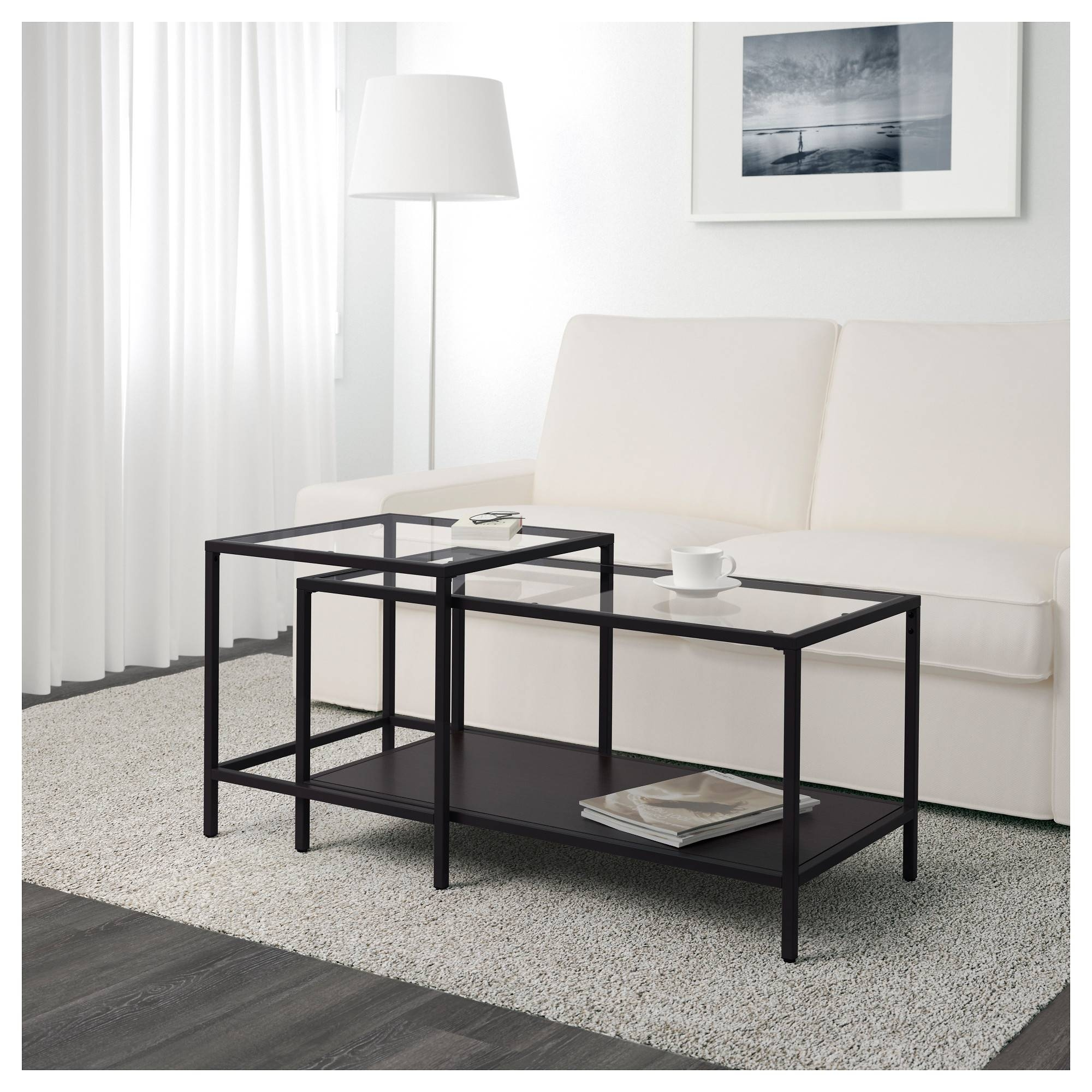 Vittsjö Nesting Tables, Set Of 2 - White/glass - Ikea for Nest Coffee Tables (Image 29 of 30)