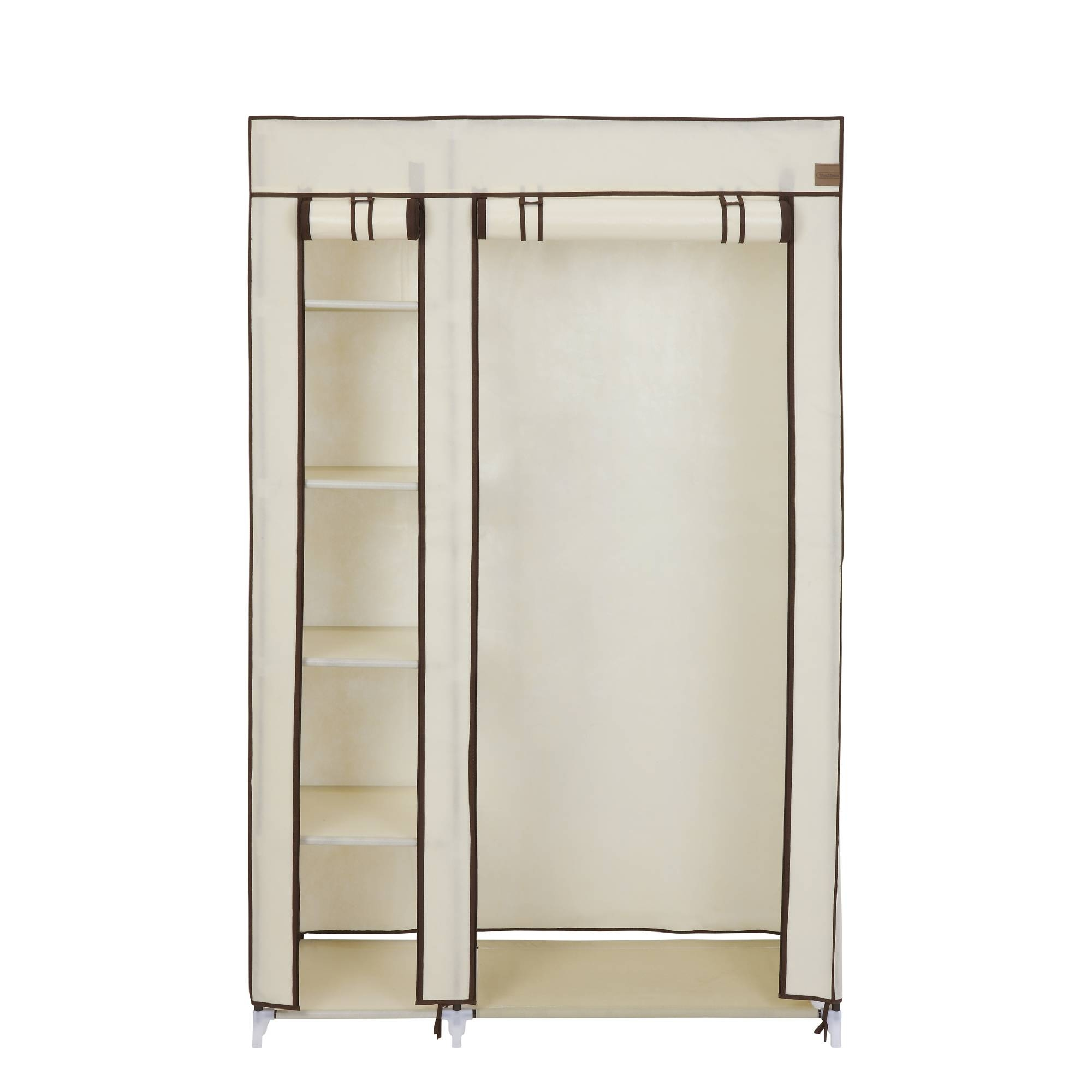 Vonhaus Double Canvas Effect Wardrobe Clothes Hanging Rail Shelves Throughout Double Hanging Rail Wardrobes (View 4 of 30)