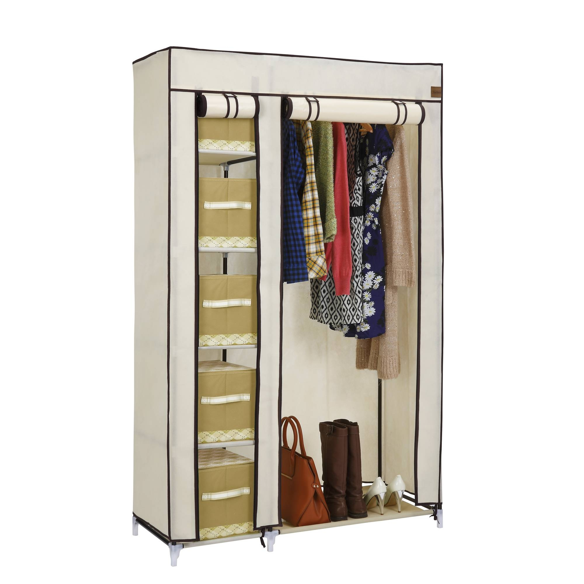 Vonhaus Double Canvas Effect Wardrobe Clothes Hanging Rail Shelves with Double Rail Wardrobe (Image 21 of 30)