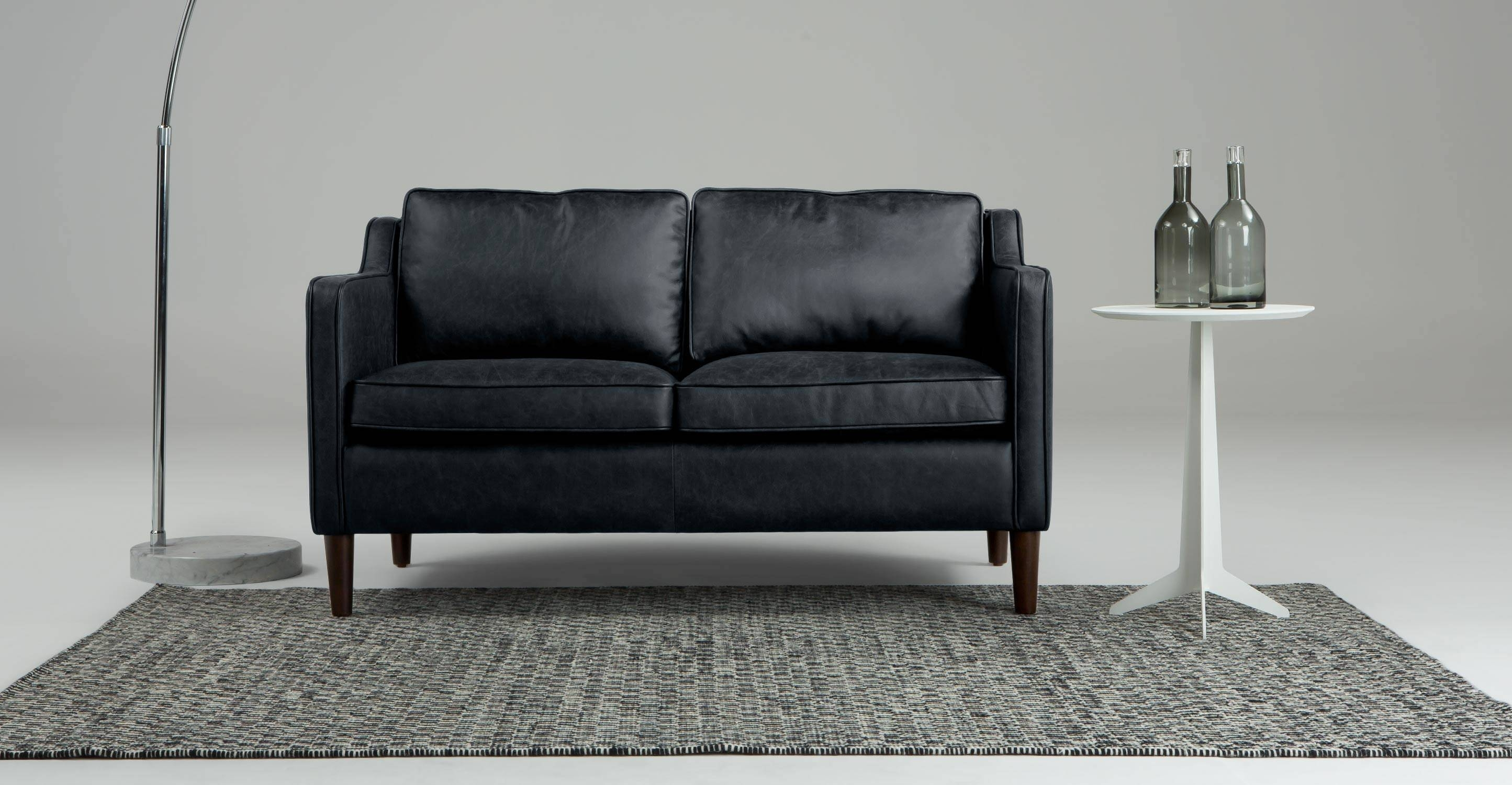 Walken 2 Seater Sofa In Black Premium Leather | Made for Black 2 Seater Sofas (Image 30 of 30)
