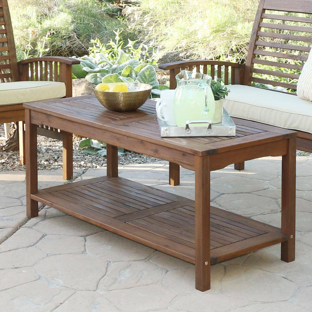 Walker Edison Furniture Company Boardwalk Dark Brown Acacia Wood within Dark Brown Coffee Tables (Image 30 of 30)