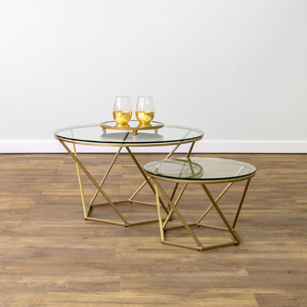 Walker Edison Furniture Company Geometric Glass Nesting Gold with regard to Glass Gold Coffee Tables (Image 30 of 30)