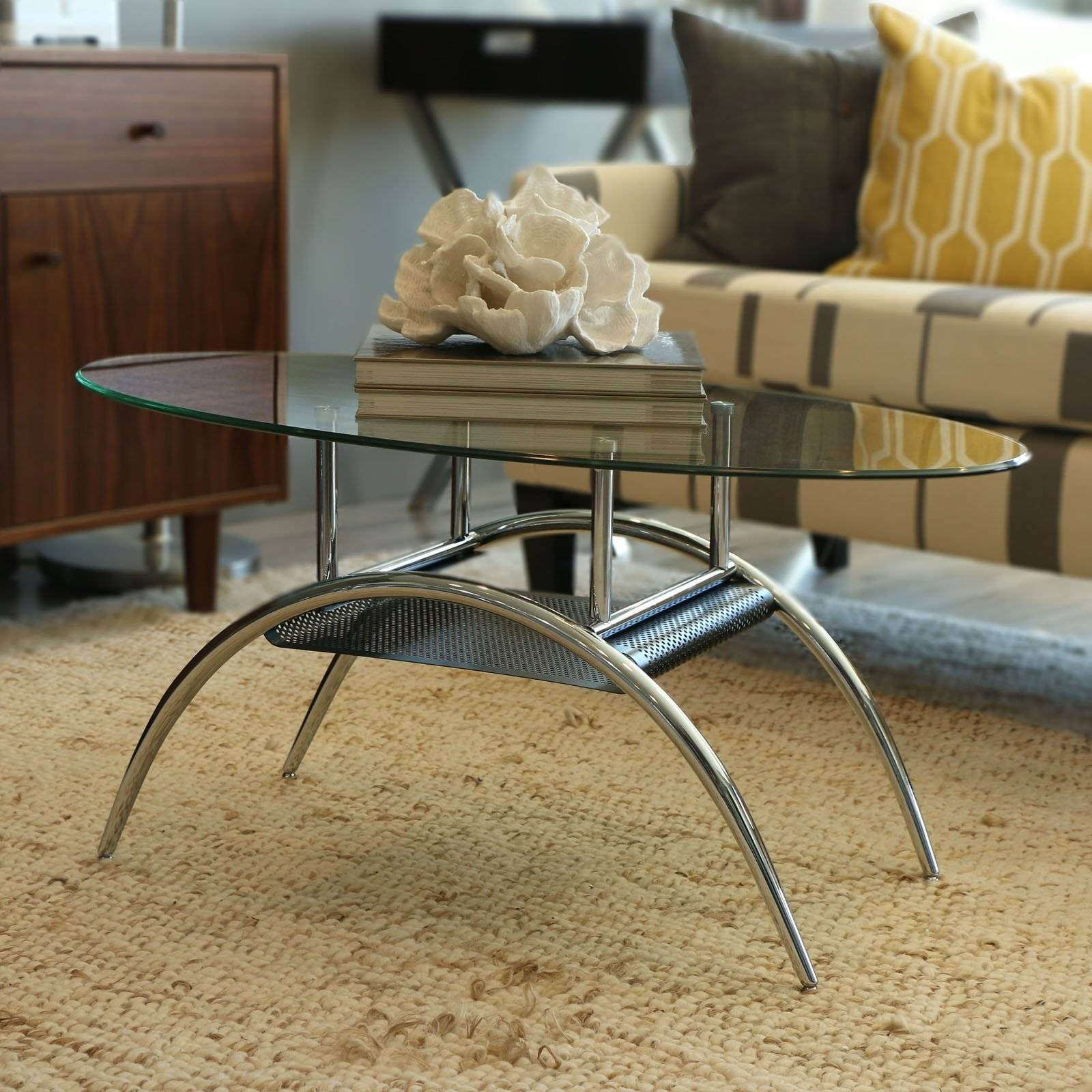 Walker Edison Oval Glass Coffee Table With Black Mesh Shelf within Glass Coffee Tables With Shelf (Image 30 of 30)