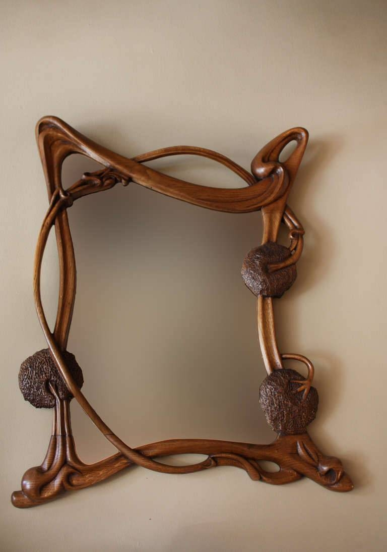 Wall Art Decor: Glass Mounted Art Nouveau Wall Mirror Metal Finish within Art Nouveau Mirrors (Image 24 of 25)