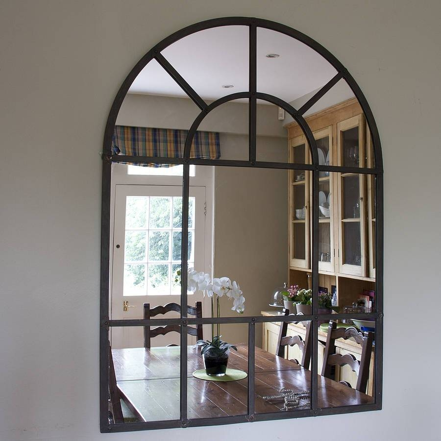 Wall Decor: Arch Wall Mirror Design. Ava Black Arch Wall Mirror in Frameless Arched Mirrors (Image 25 of 25)