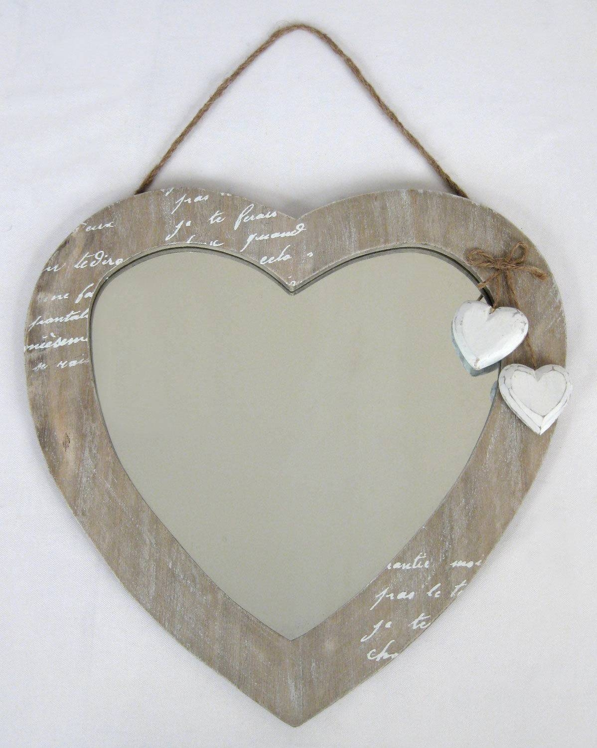 Wall Hanging Mirror Love Heart Design Shabby Chic Wood Finish 30Cm intended for Heart Shaped Mirrors for Wall (Image 25 of 25)