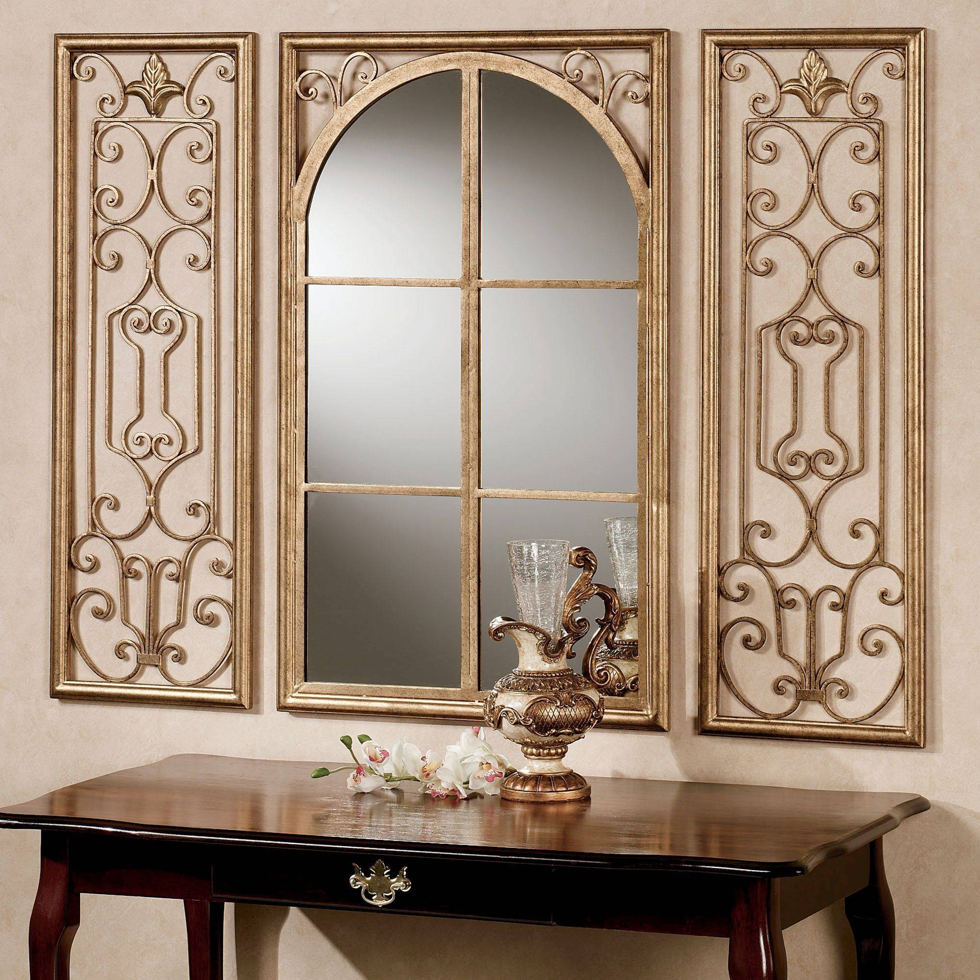 Wall Mirrors Touch Of Class, Lovable Long Gold Arched Mirror | Federto intended for Long Gold Mirrors (Image 25 of 25)