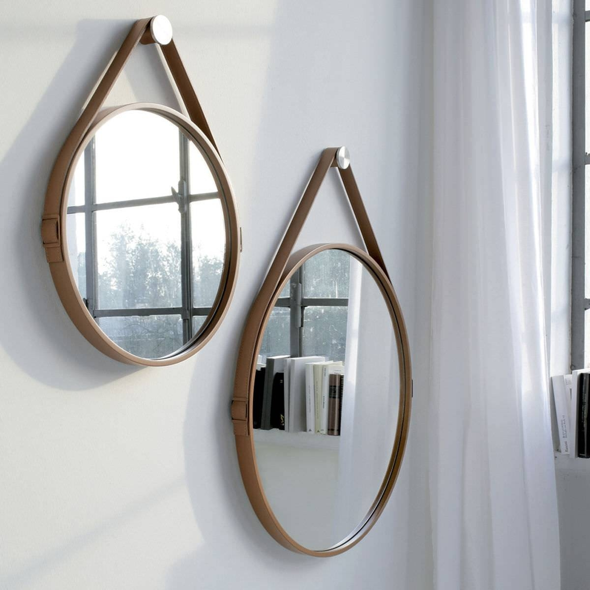 Wall Mounted Mirror / Contemporary / Round / Leather – George 24In Regarding Leather Wall Mirrors (View 24 of 25)
