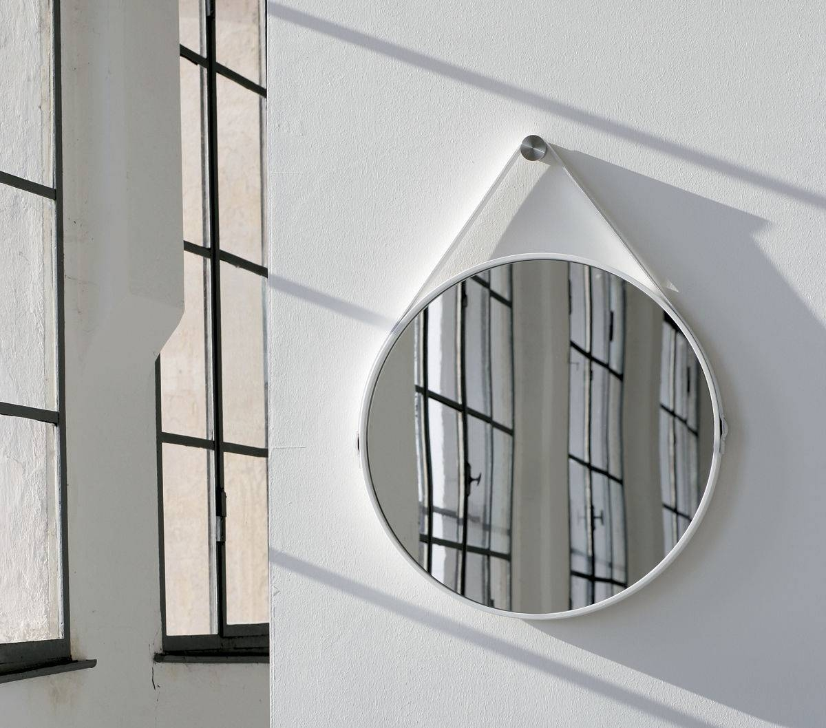 Wall-Mounted Mirror / Contemporary / Round / Leather - George 24In with regard to Contemporary Round Mirrors (Image 25 of 25)