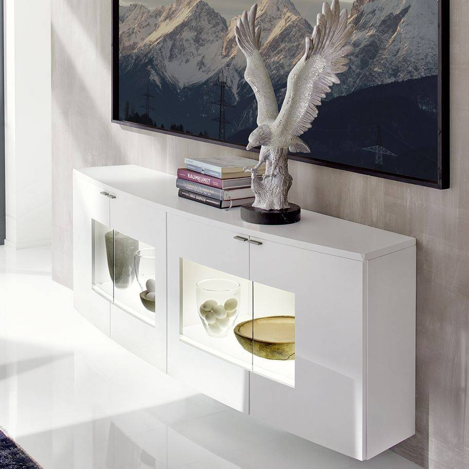 Wall-Mounted Sideboard / Contemporary / Lacquered Wood / Glass with Contemporary White Sideboards (Image 30 of 30)
