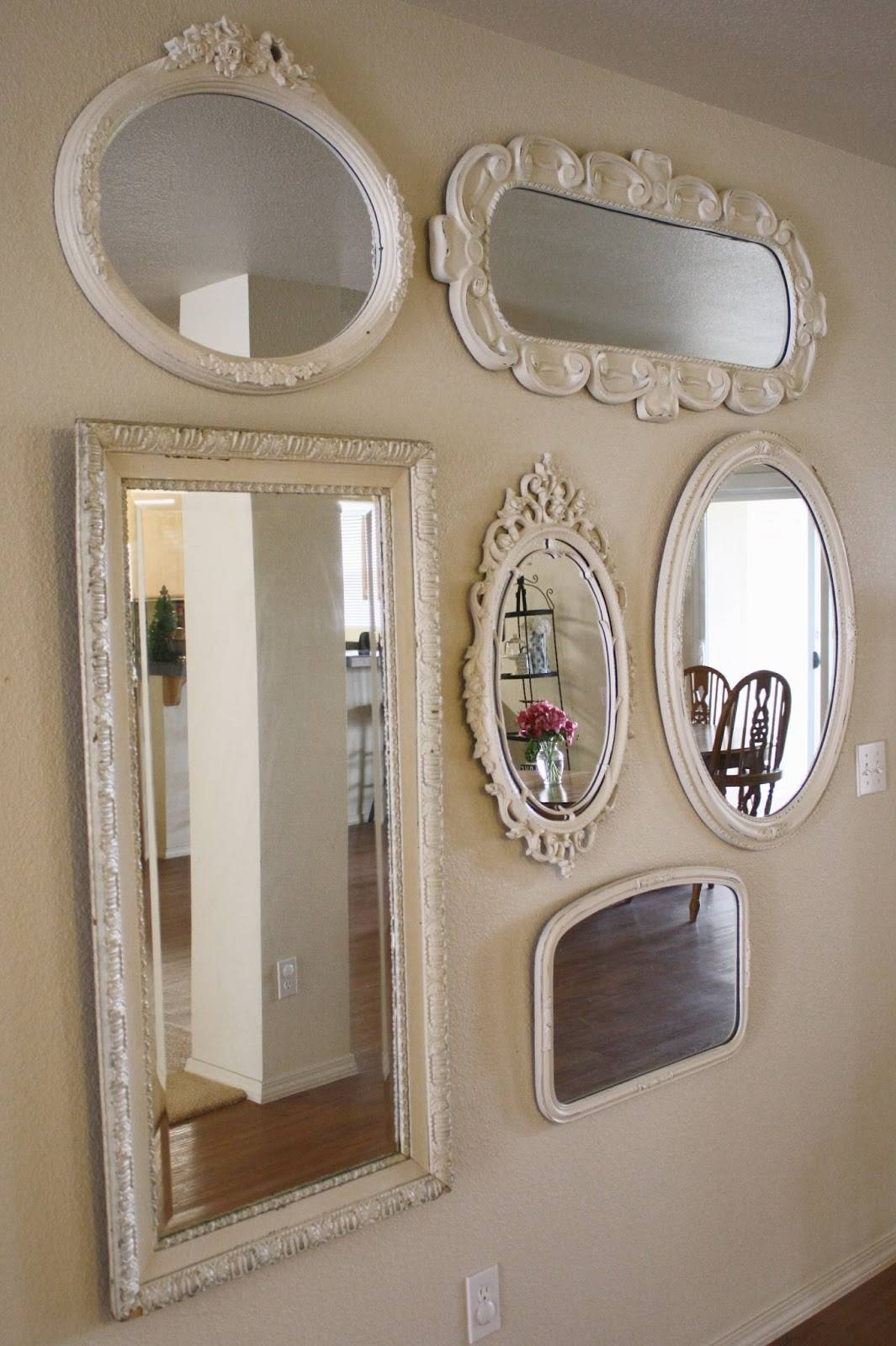 Wall Of Mirrors | Designedbykrystleblog Intended For Vintage White Mirrors (Photo 3 of 25)