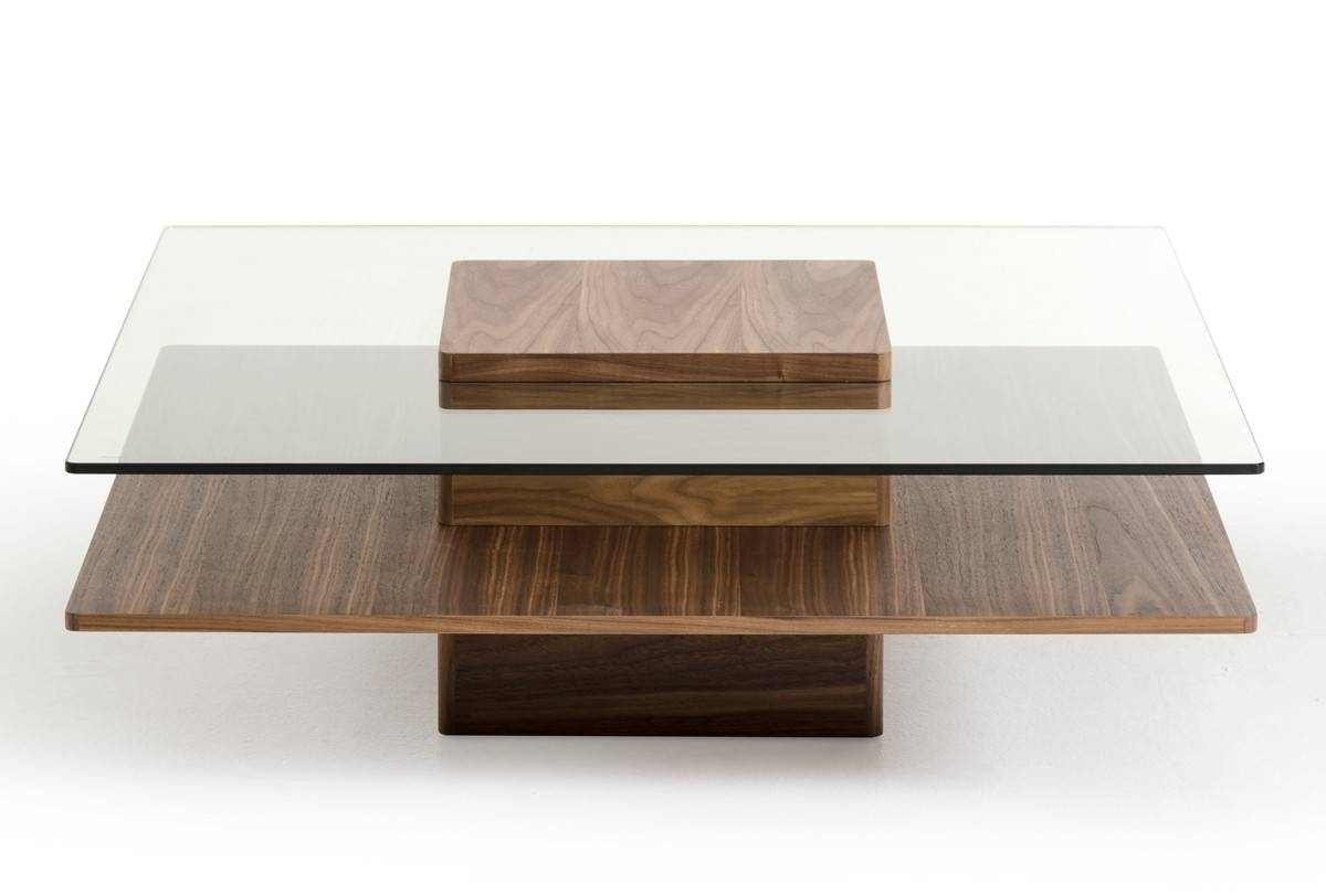 Walnut And Tempered Glass Transparent Coffee Table New York New within Transparent Glass Coffee Tables (Image 29 of 30)