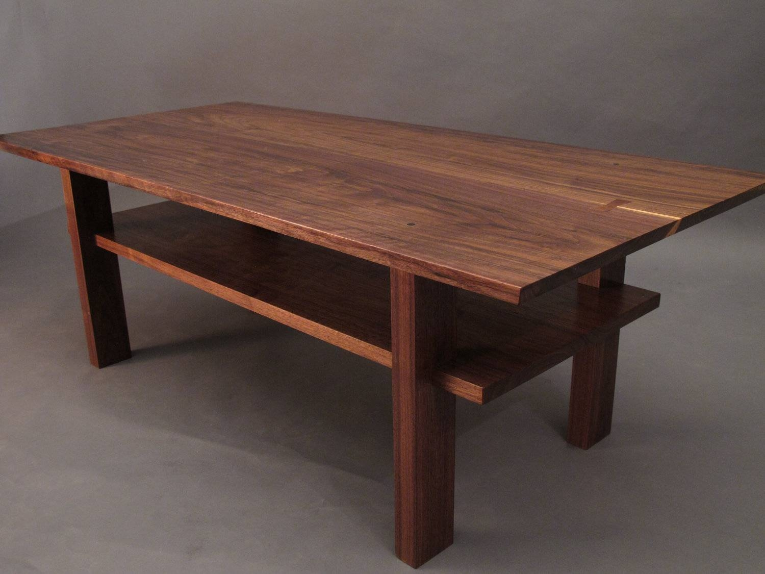Walnut Coffee Table Small Wood Tables For Living Room Narrow Pertaining To Small Coffee Tables With Shelf (View 30 of 30)