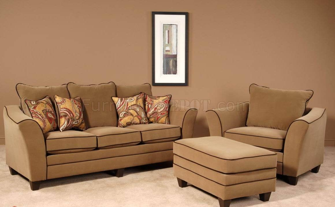 Walnut Fabric Modern Sofa & Chair Set W/options With Regard To Sofa And Chair Set (View 30 of 30)