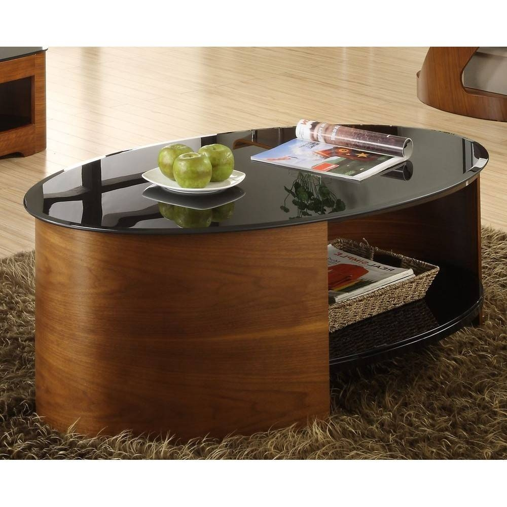 Walnut Oval Coffee Table Modern Unusual Wooden Storage inside Oval Walnut Coffee Tables (Image 30 of 30)