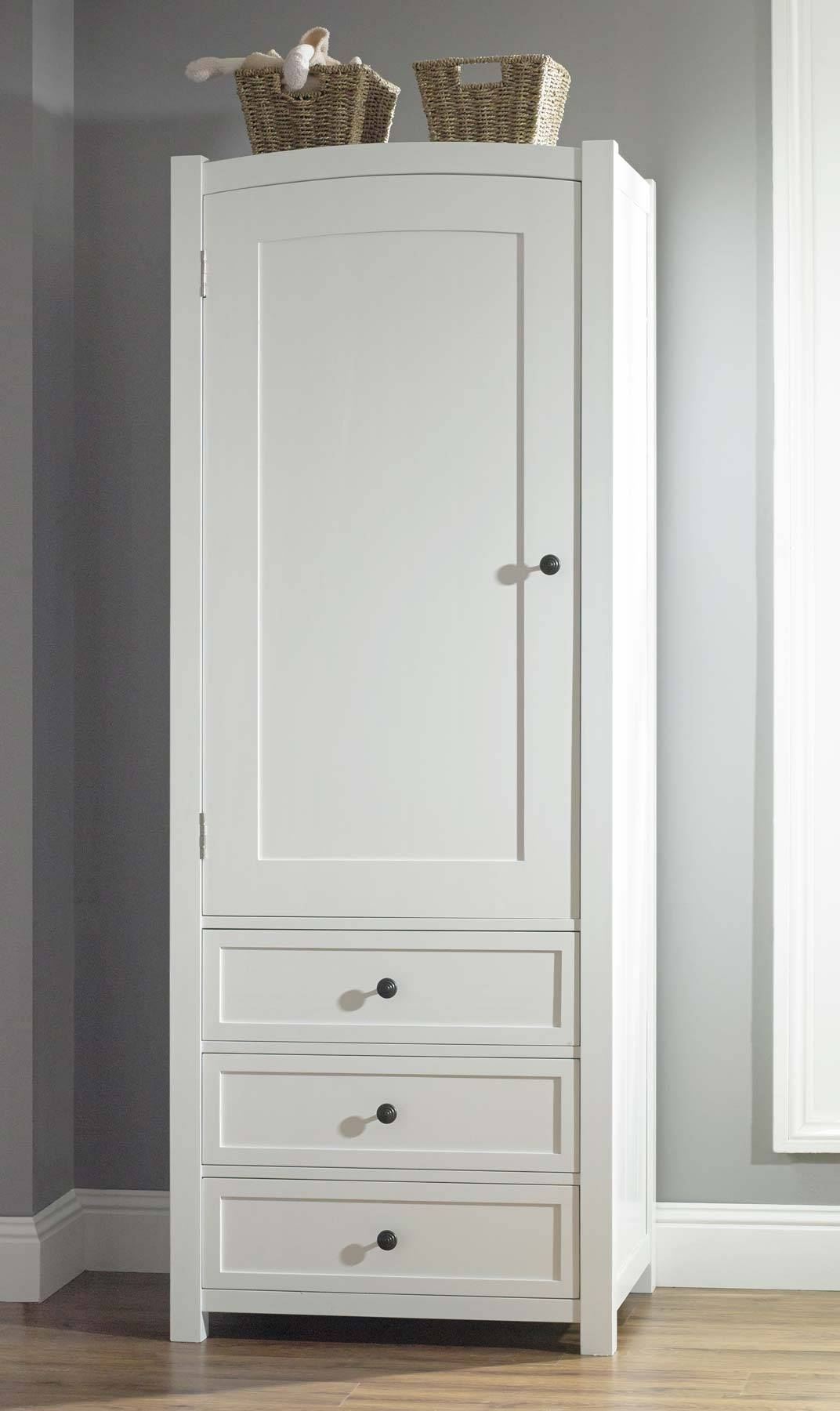 Wardrobe : 39 Formidable White Wooden Wardrobe With Drawers Photo intended for White Single Door Wardrobes (Image 12 of 15)