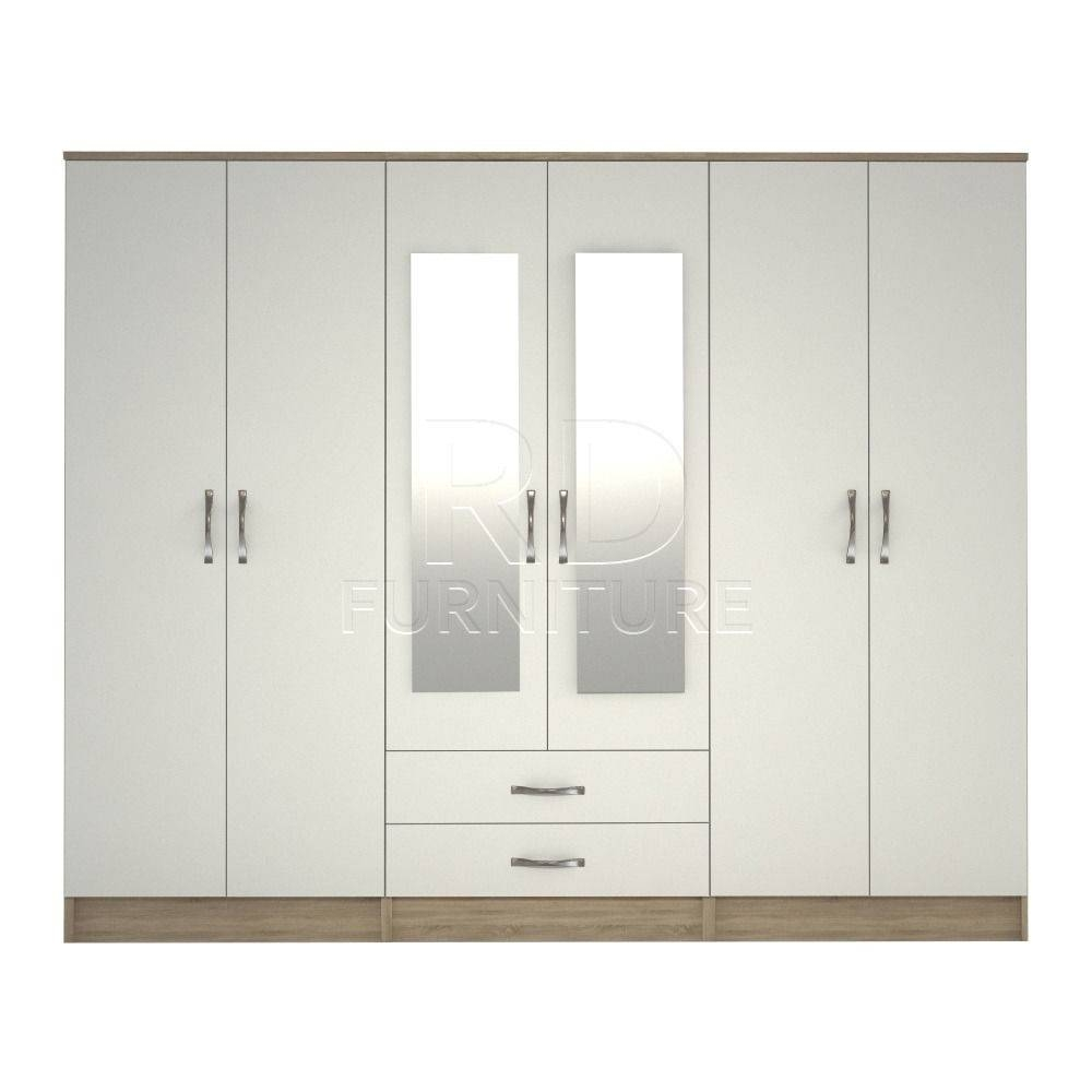 Wardrobe 4 You, 2,28M Wide 6 Door Oak And White Wardrobe | In in 6 Door Wardrobes (Image 13 of 15)