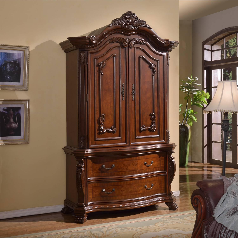 Wardrobe : Cream And Dark Wood Wardrobe Dark Wood Wardrobe With Inside Solid Dark Wood Wardrobes (View 20 of 30)