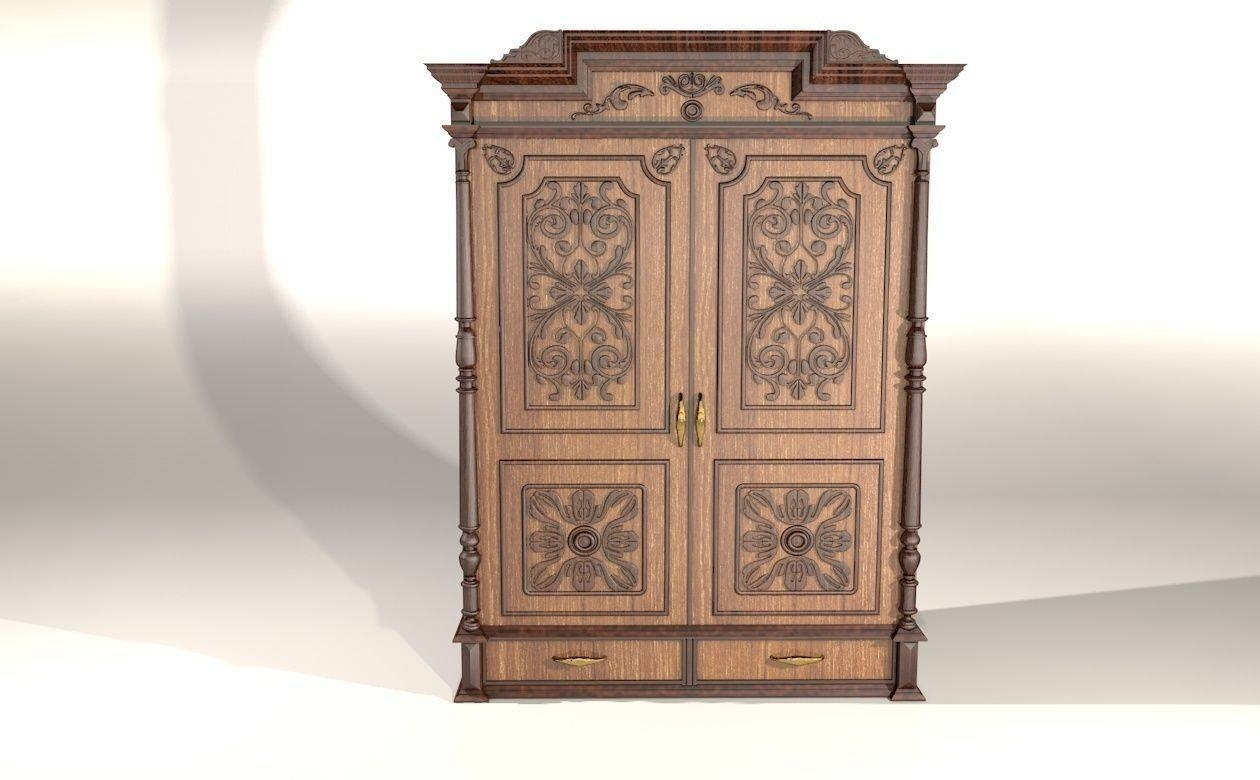 Wardrobe Darkwood With Ethnik Ornaments 3D Model Max Obj Fbx Mtl regarding Dark Wood Wardrobes (Image 24 of 30)