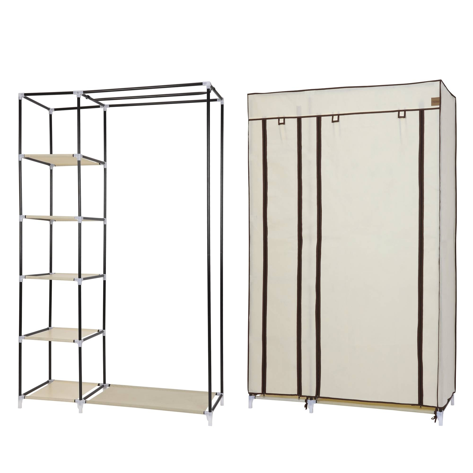 Featured Photo of Double Canvas Wardrobe Rail Clothes Storage Cupboard