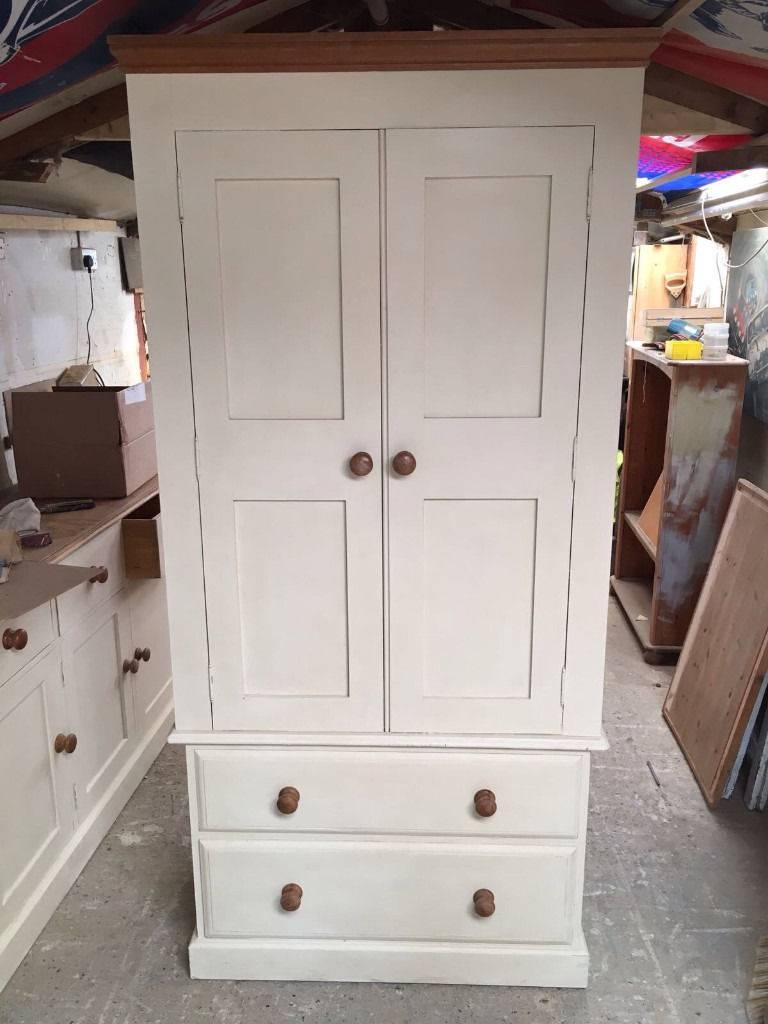 Wardrobe Painted Pine Solid Wood With Drawers Double Full Size within Double Rail Wardrobe With Drawers (Image 25 of 30)