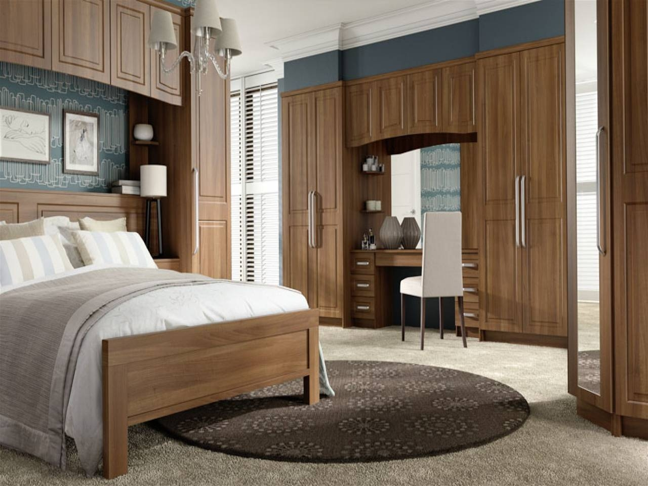 Wardrobe With Built In Dressing Table. Tobacco Walnut Curved for Wardrobes and Dressing Tables (Image 11 of 15)