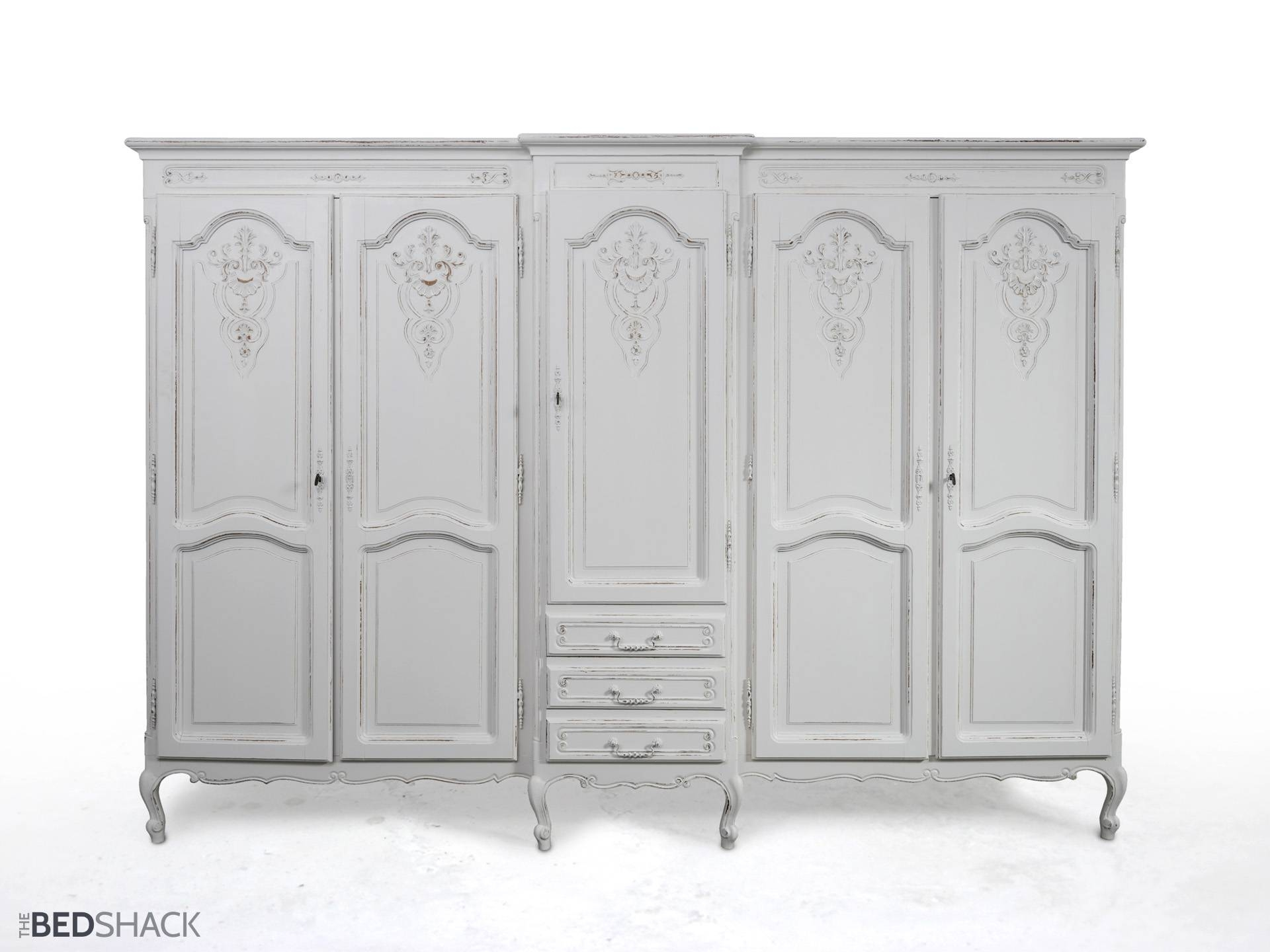 Wardrobes Armoires Large White Shabby Chic Wardrobe Armoire within Large Shabby Chic Wardrobes (Image 14 of 15)