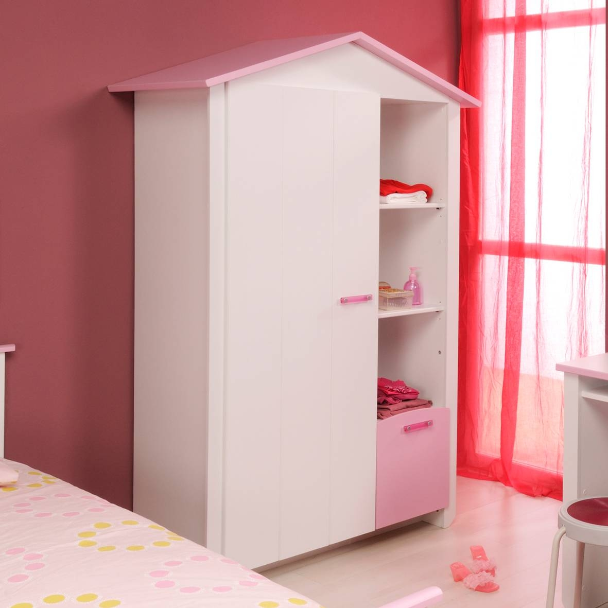 Wardrobes: Cute Minimalist House Shape Kids Wardrobes Design In intended for Girls Wardrobes (Image 15 of 15)
