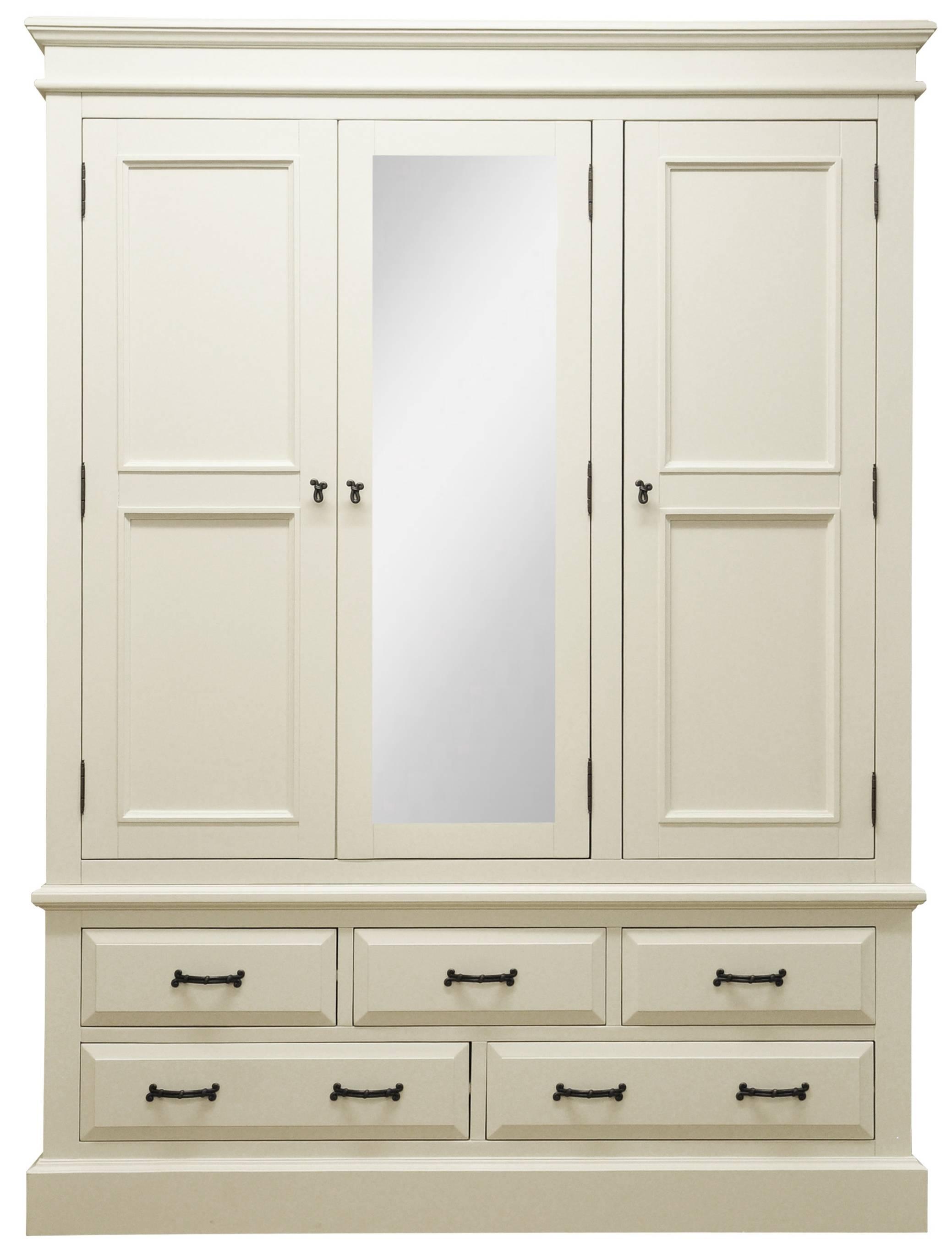Wardrobes : Henleaze 5 Drawer Painted Wardrobe With Mirrorhenleaze for Three Door Mirrored Wardrobes (Image 14 of 15)