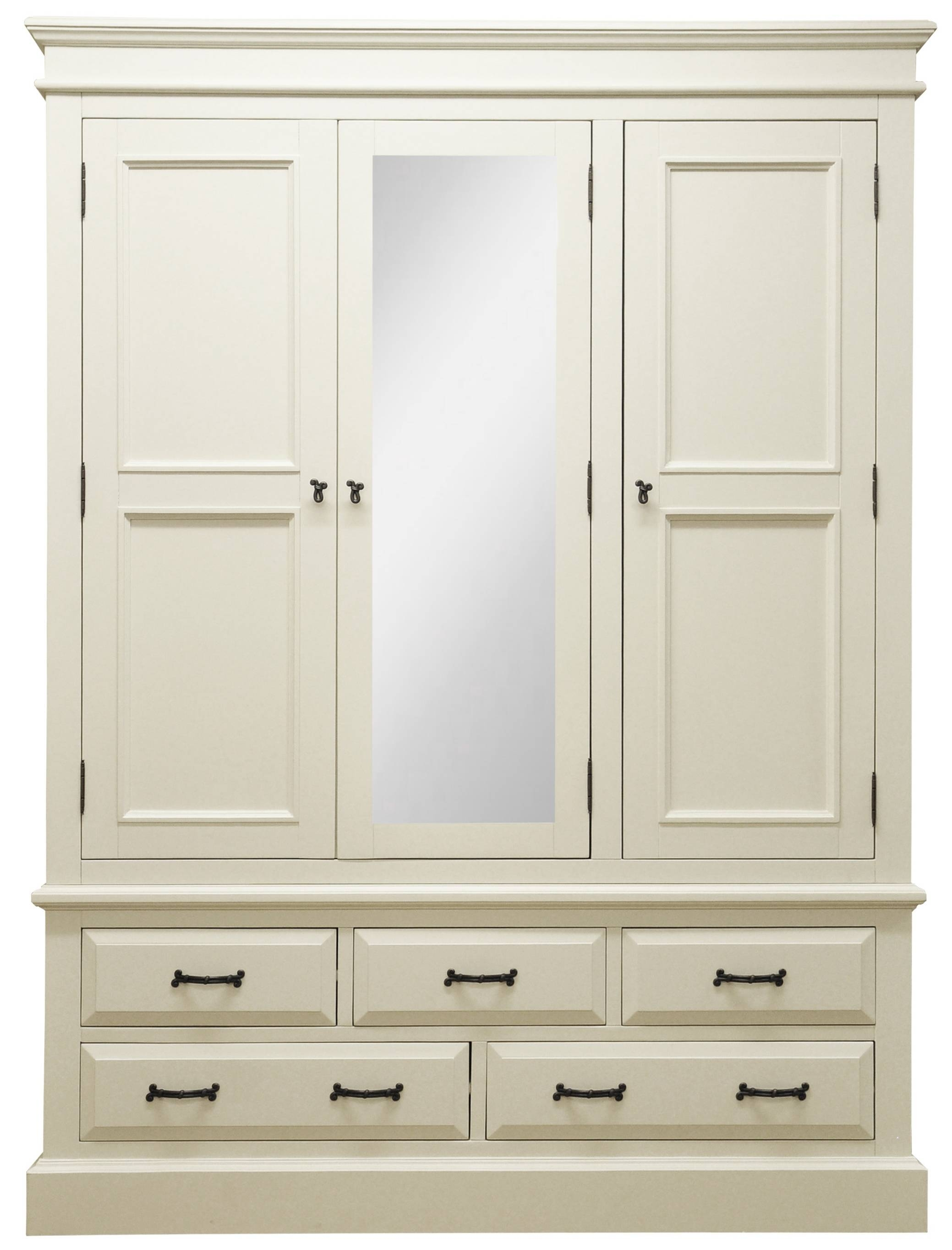 Wardrobes : Henleaze 5 Drawer Painted Wardrobe With Mirrorhenleaze with Single White Wardrobes With Mirror (Image 11 of 15)