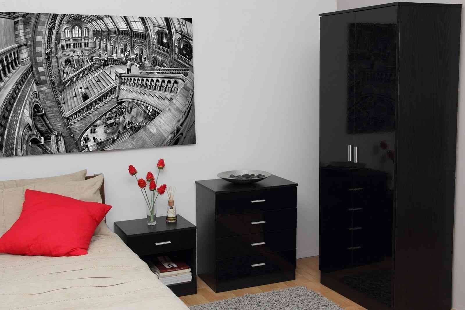 Wardrobes With Sliding Doors Black Bedroom Furniture Ideas in High Gloss Black Wardrobes (Image 12 of 15)