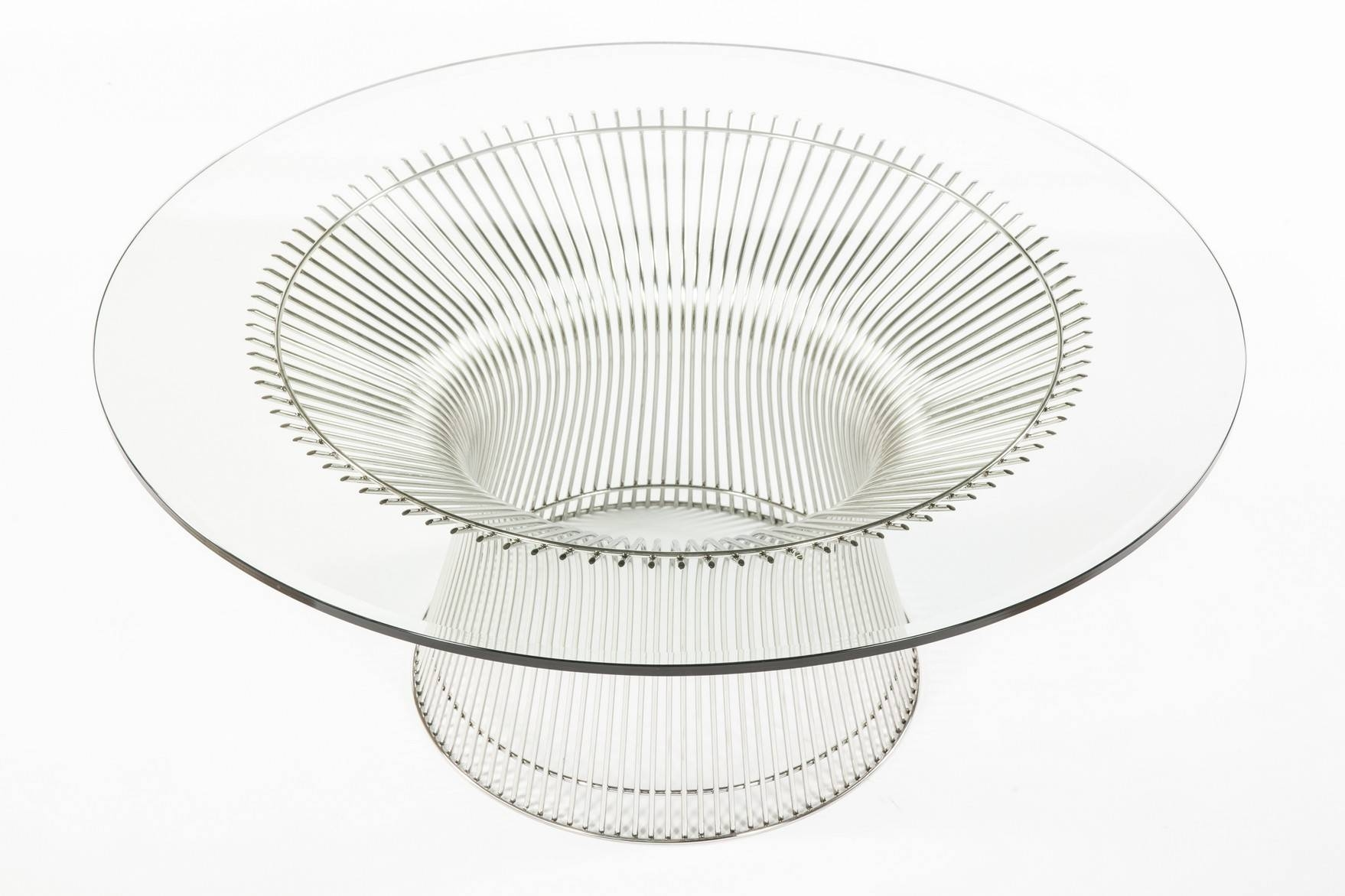 "Warren Platner Style (Elite Series) 36"" Glass Coffee Table Mid in White and Glass Coffee Tables (Image 27 of 30)"