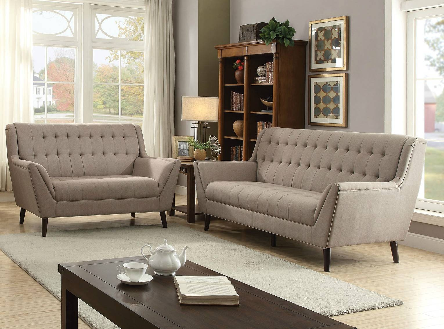 Watonga Contemporary Light Brown Linen Fabric 2Pc Buttonless regarding Tufted Linen Sofas (Image 30 of 30)