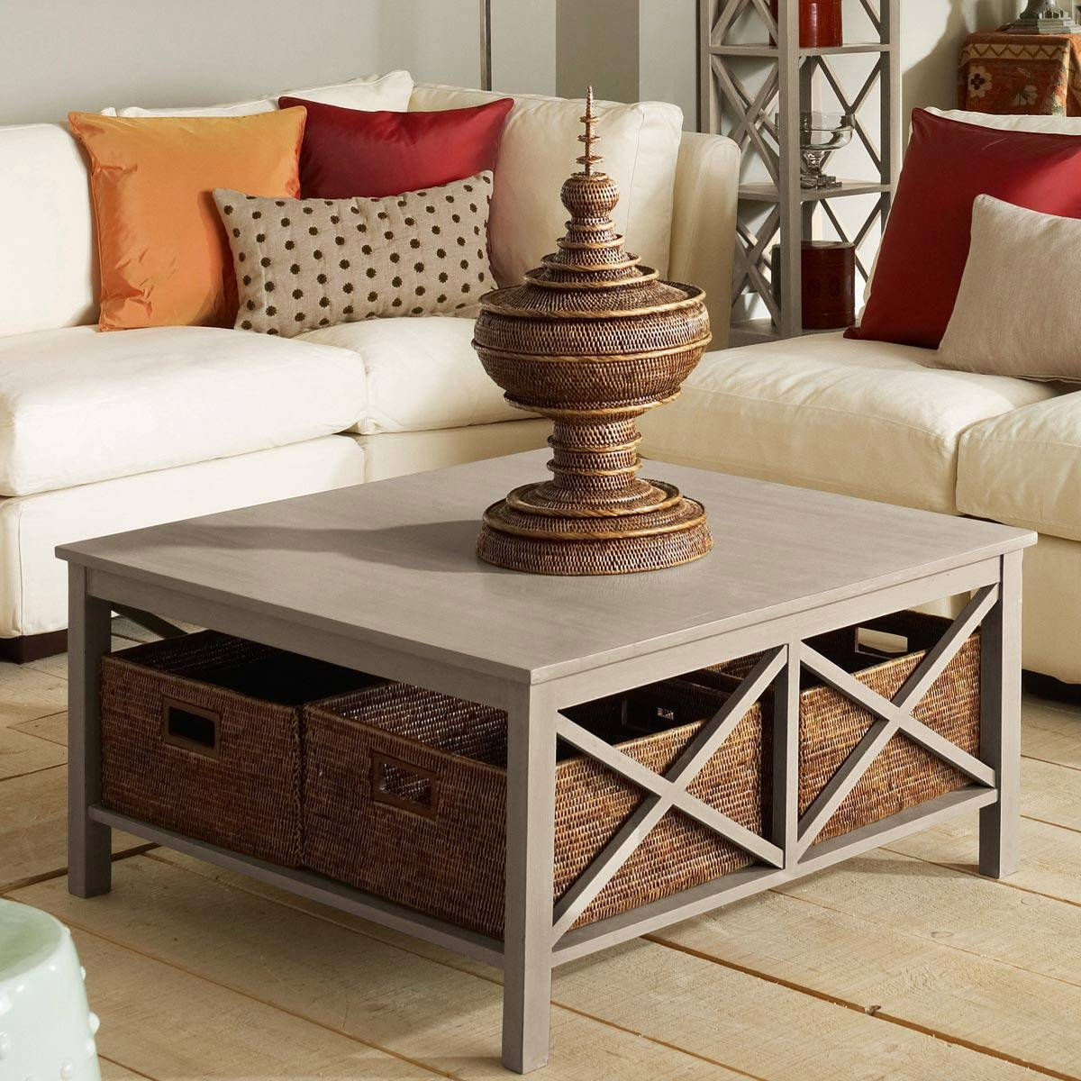 Weathered Grey Square Coffee Table | Decorative Table Decoration for Square White Coffee Tables (Image 27 of 30)