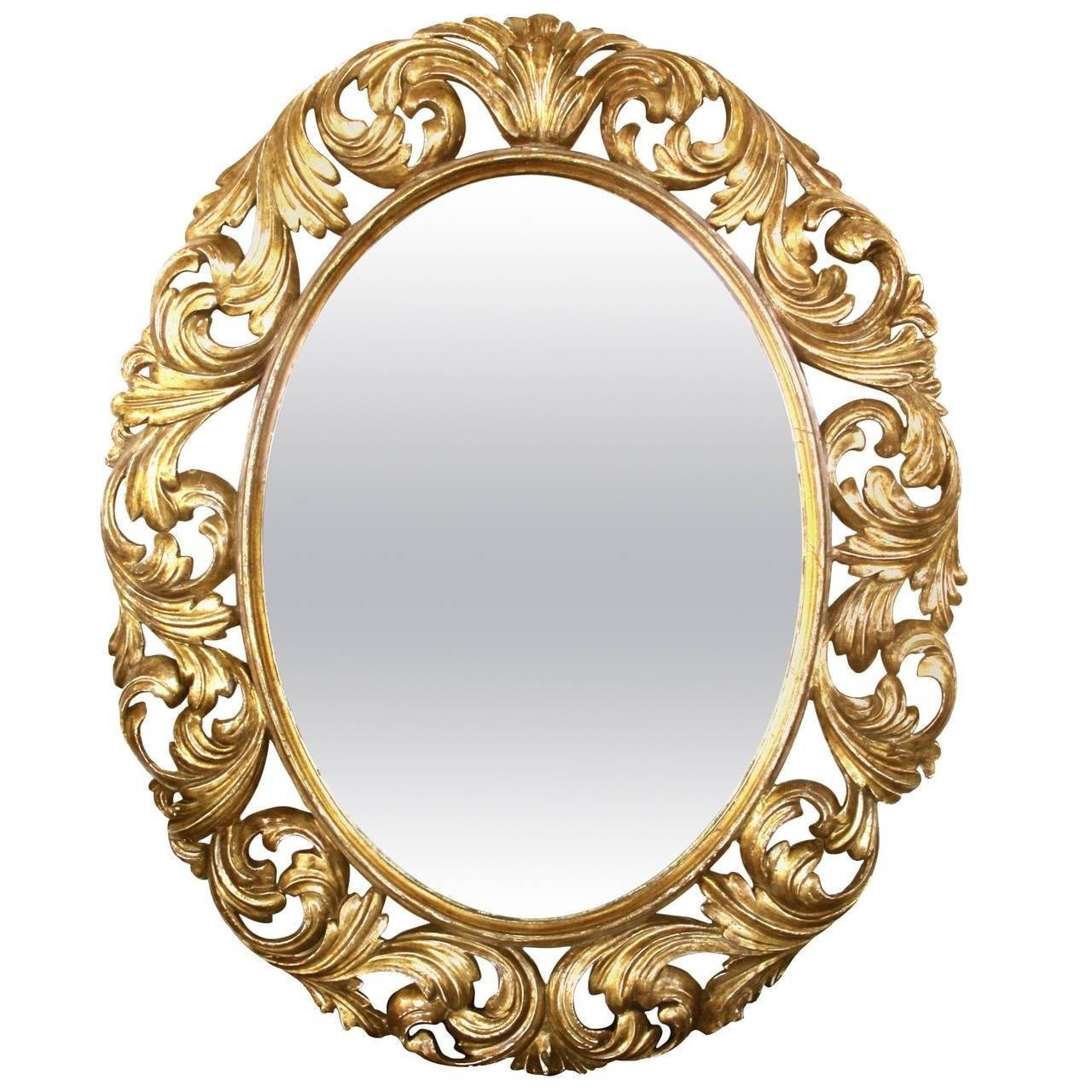 Well-Carved Italian Baroque Style Oval Giltwood Mirror For Sale At intended for Baroque Style Mirrors (Image 23 of 25)