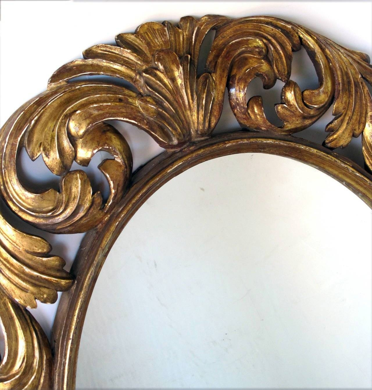Well Carved Italian Baroque Style Oval Giltwood Mirror For Sale At Within Baroque Style Mirrors (View 24 of 25)