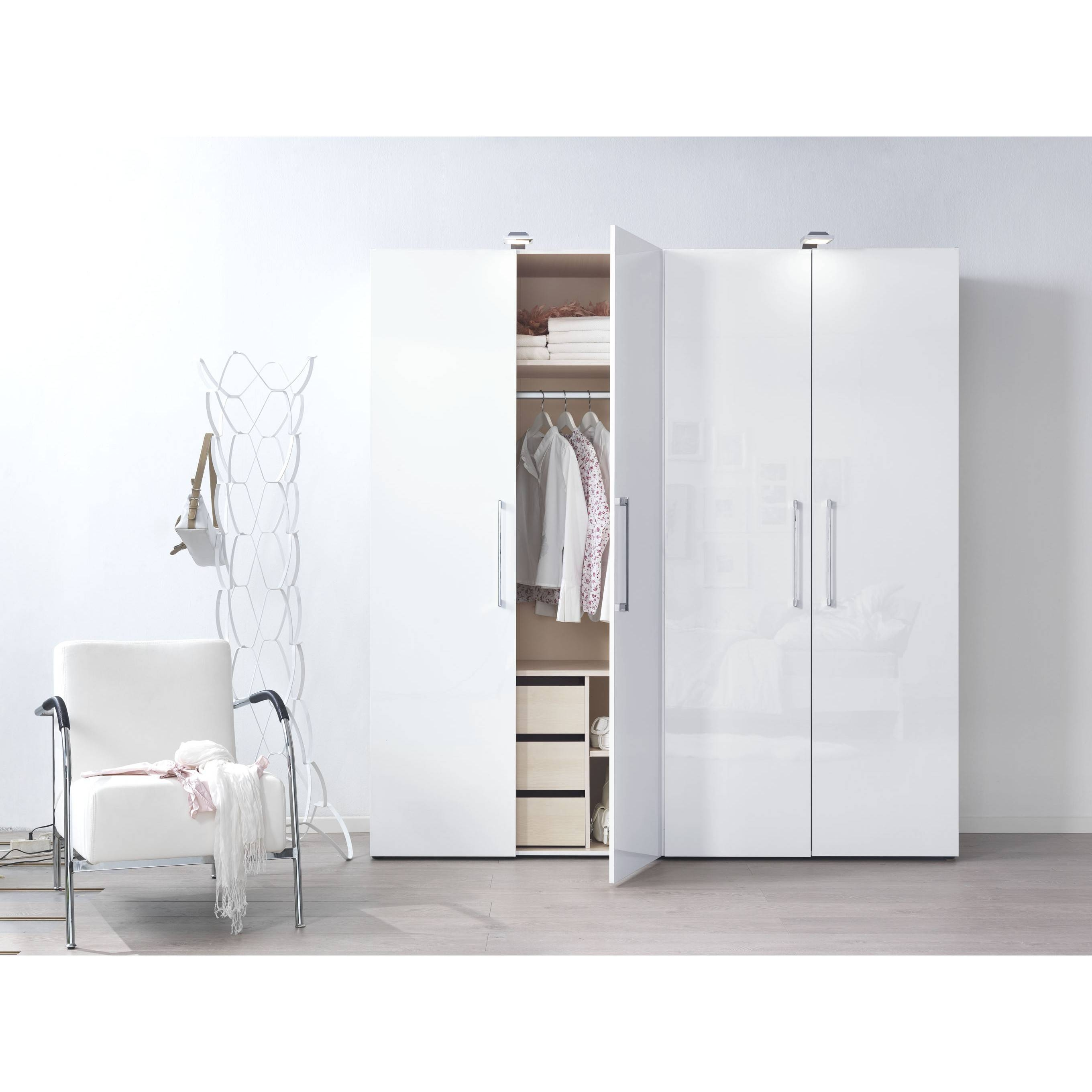 Welle Mobel Five Plus High Gloss Wardrobe W100Cm For Wardrobes White Gloss (View 5 of 15)