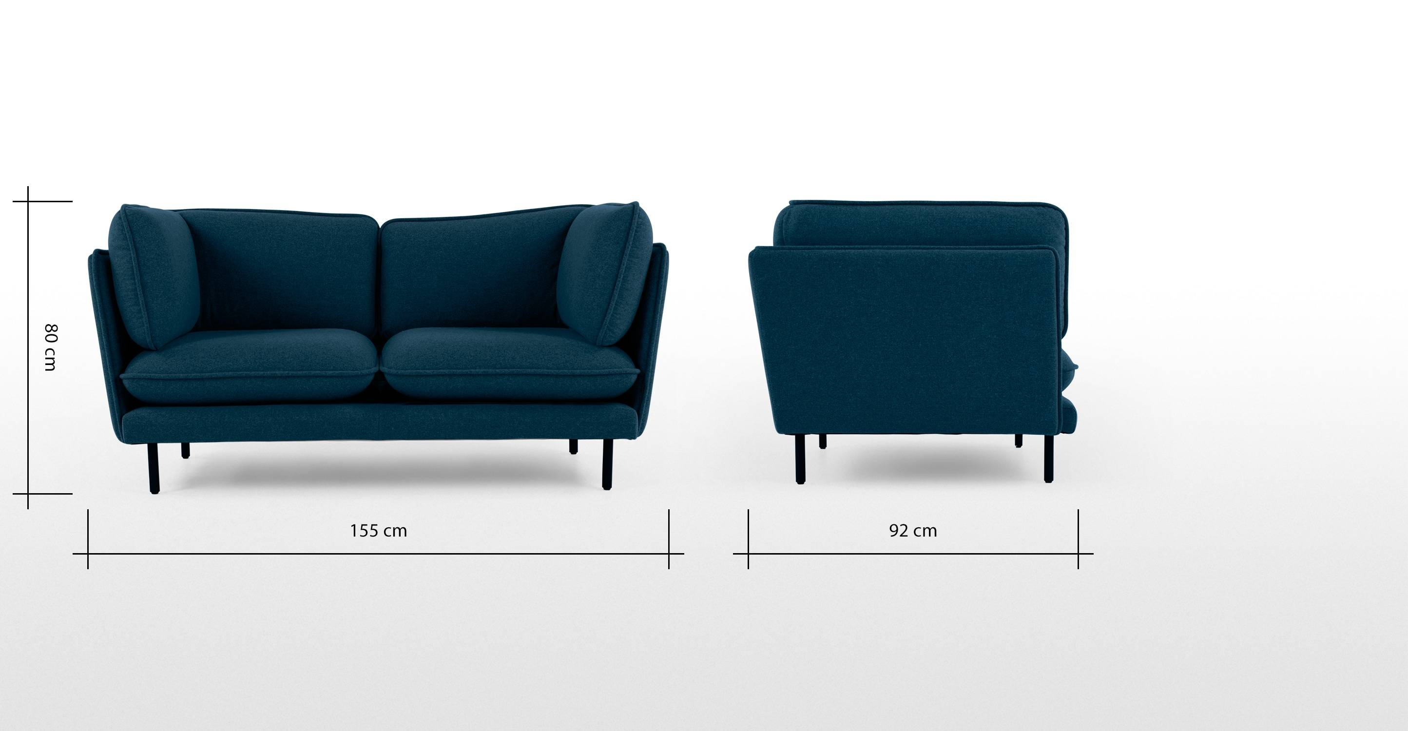 Wes 2 Seater Sofa, Petrol Teal | Made in 2 Seater Sofas (Image 29 of 30)
