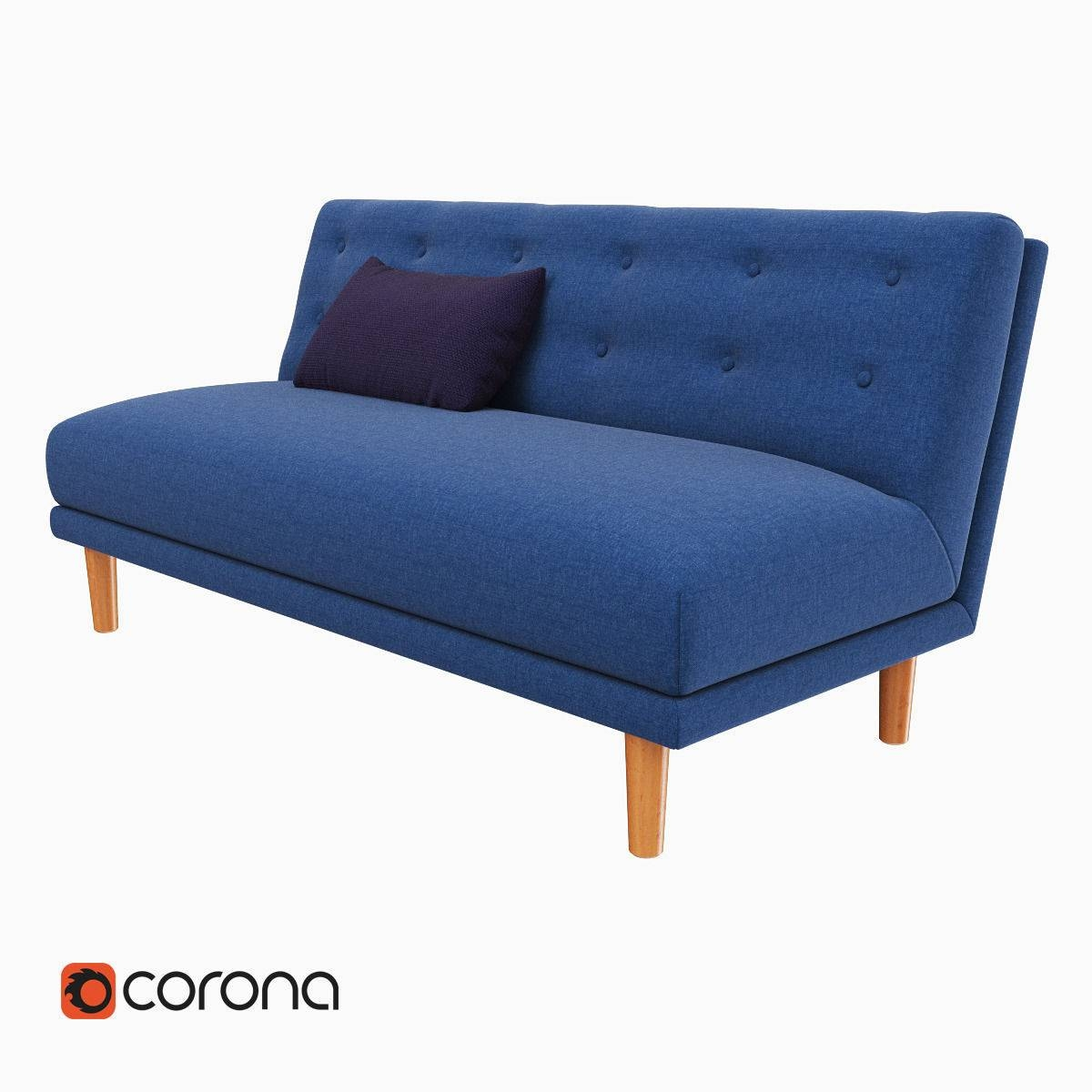 West Elm Rounded Retro Armless Sofa 3D Model Max Obj Fbx Mtl for Rounded Sofa (Image 25 of 25)