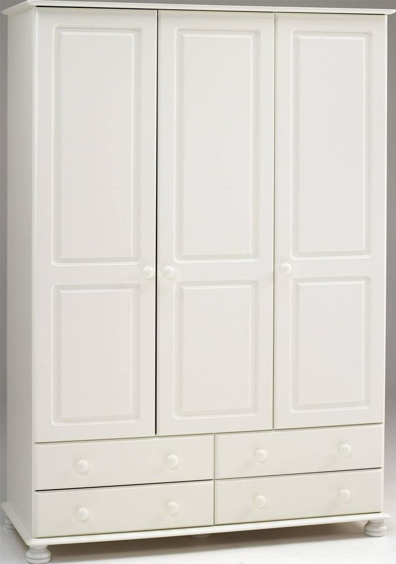 White 3 Door Wardrobe - 4 Drawers - Steens Richmond inside White Wardrobes With Drawers (Image 15 of 15)