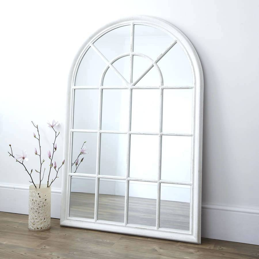 White Arched Window Mirrorarched Iron Mirror Arch Top Pane inside Arched Window Mirrors (Image 23 of 25)