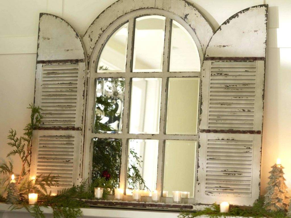 White Arched Window Pane Mirror | Vanity Decoration intended for White Arched Window Mirrors (Image 25 of 25)