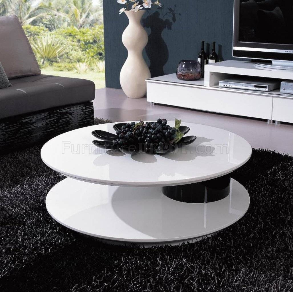 White & Black Two-Tone Finish Modern Coffee Table W/swivel Top intended for Round Swivel Coffee Tables (Image 30 of 30)