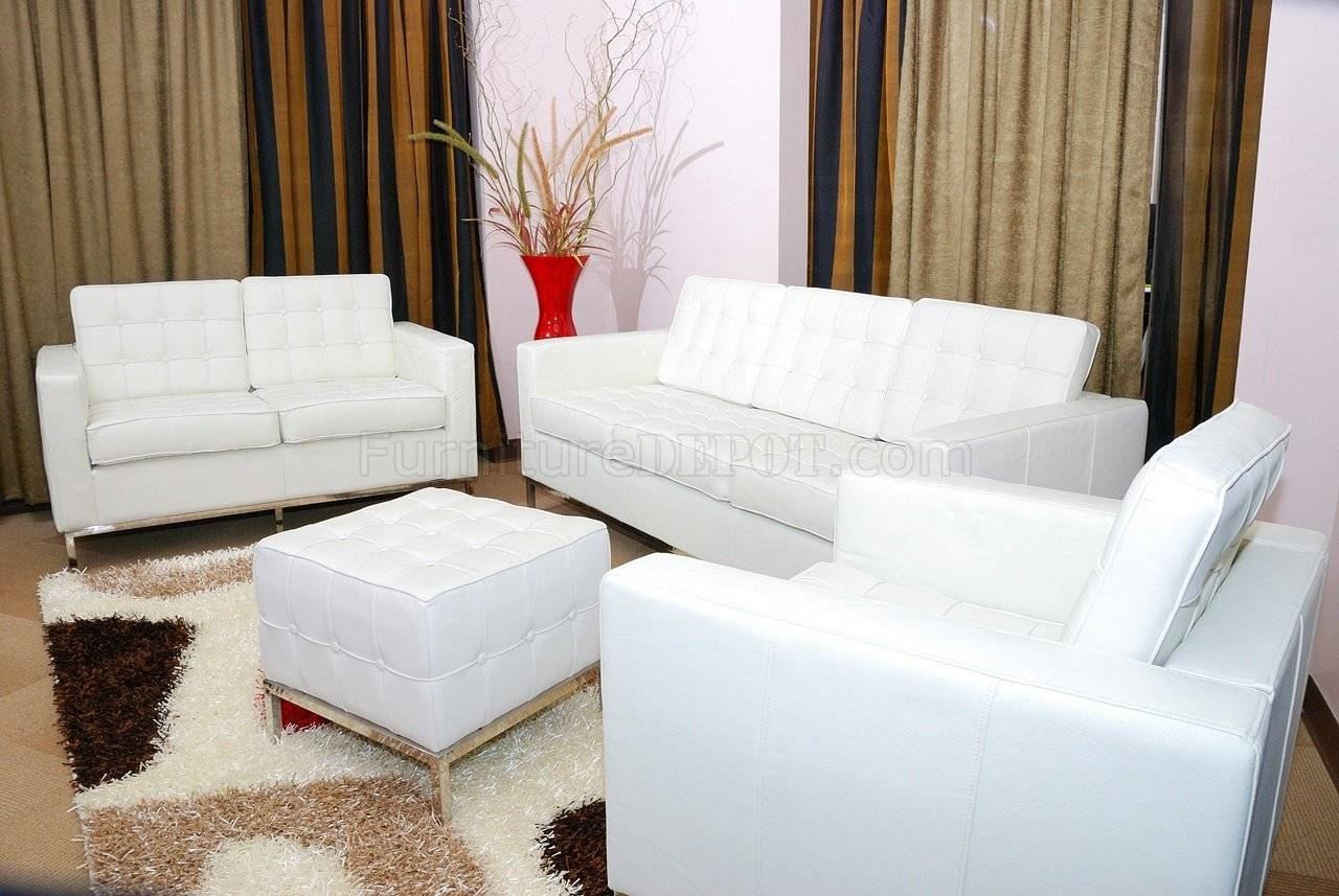 White Button Tufted Full Leather Sofa, Chair & Ottoman Set Pertaining To Sofa Chair And Ottoman (View 15 of 15)